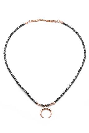 Modex Kadın Hilal Figürlü Füme Kristal Bocuklu Kolye K8386