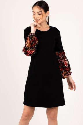 armonika Kadın Siyah Kolu Renkli Balonlu Elbise ARM-19K001215