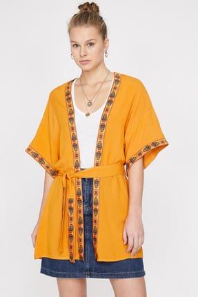 Koton Kadın Sarı Printed Detailed Kimono 9YAL59326IW