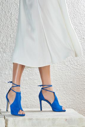 Butigo DANTE 73Z Saks Kadın Topuklu Ayakkabı 100345552