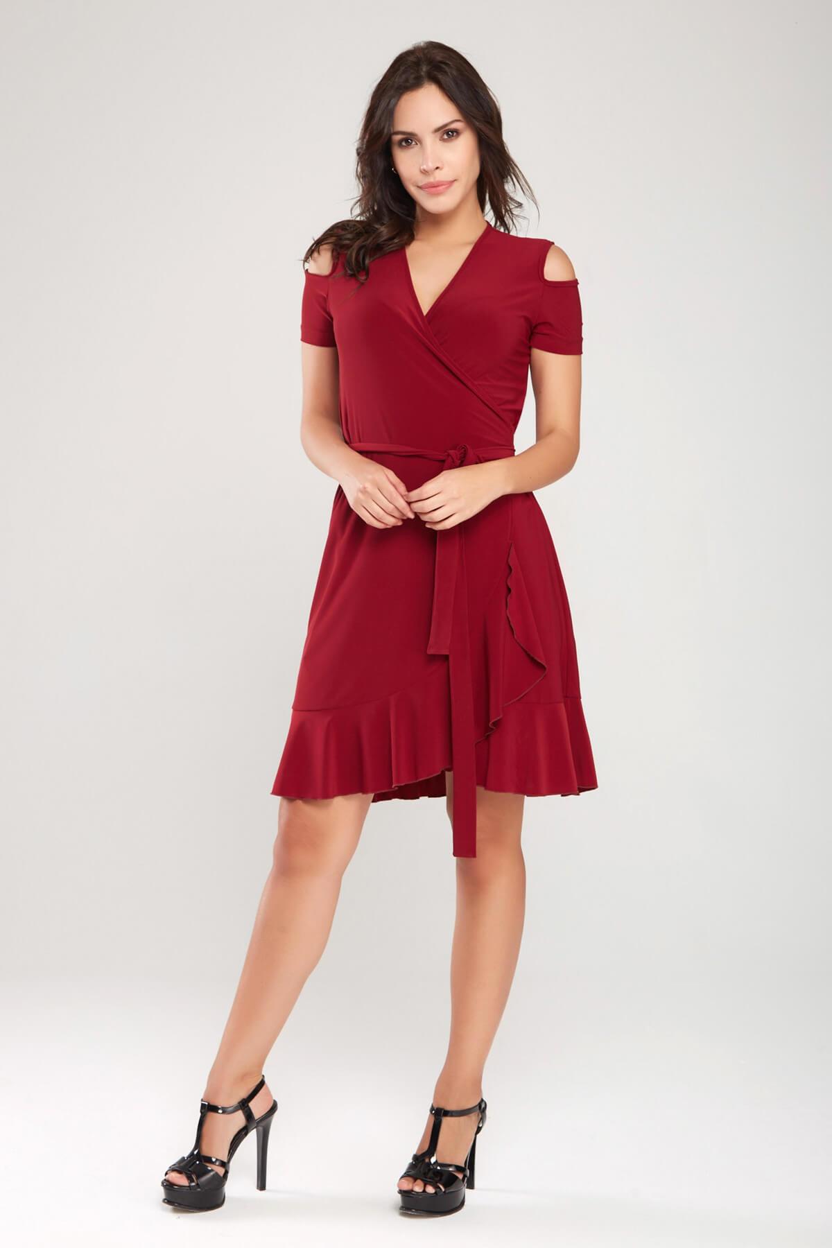 Laranor Kadın Bordo Kruvaze Kesim Elbise 18L6251 2