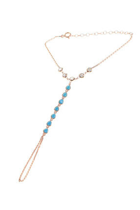 Söğütlü Silver Kadın Rose Renk Gümüş Turkuaz Ve Zirkon Taşlı Şahmeran SGTL8612