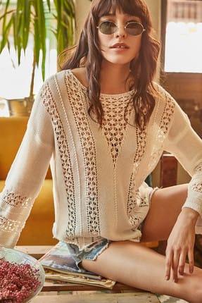 Olalook Kadın Beyaz Ajurlu Merserize Pamuk Triko Bluz BLZ-19000282