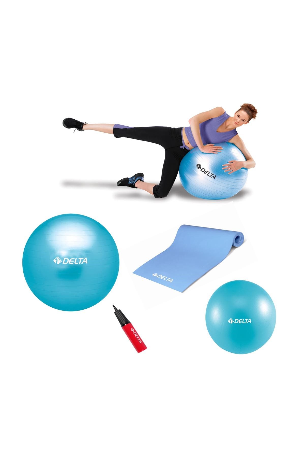 Delta 65 cm Pilates Topu 4 mm Minder 30 cm Mini Top Ve Pompa Seti 1