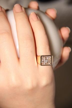 Modex Kadın Altın Kaplama Taş Detaylı Serçe Parmağı Yüzüğü Uyz9908