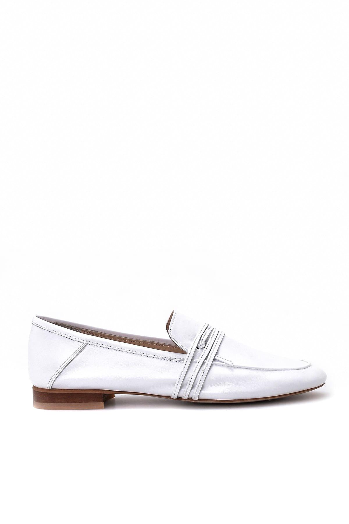 Derimod Hakiki Deri Beyaz Kadın Loafer Ayakkabı 1