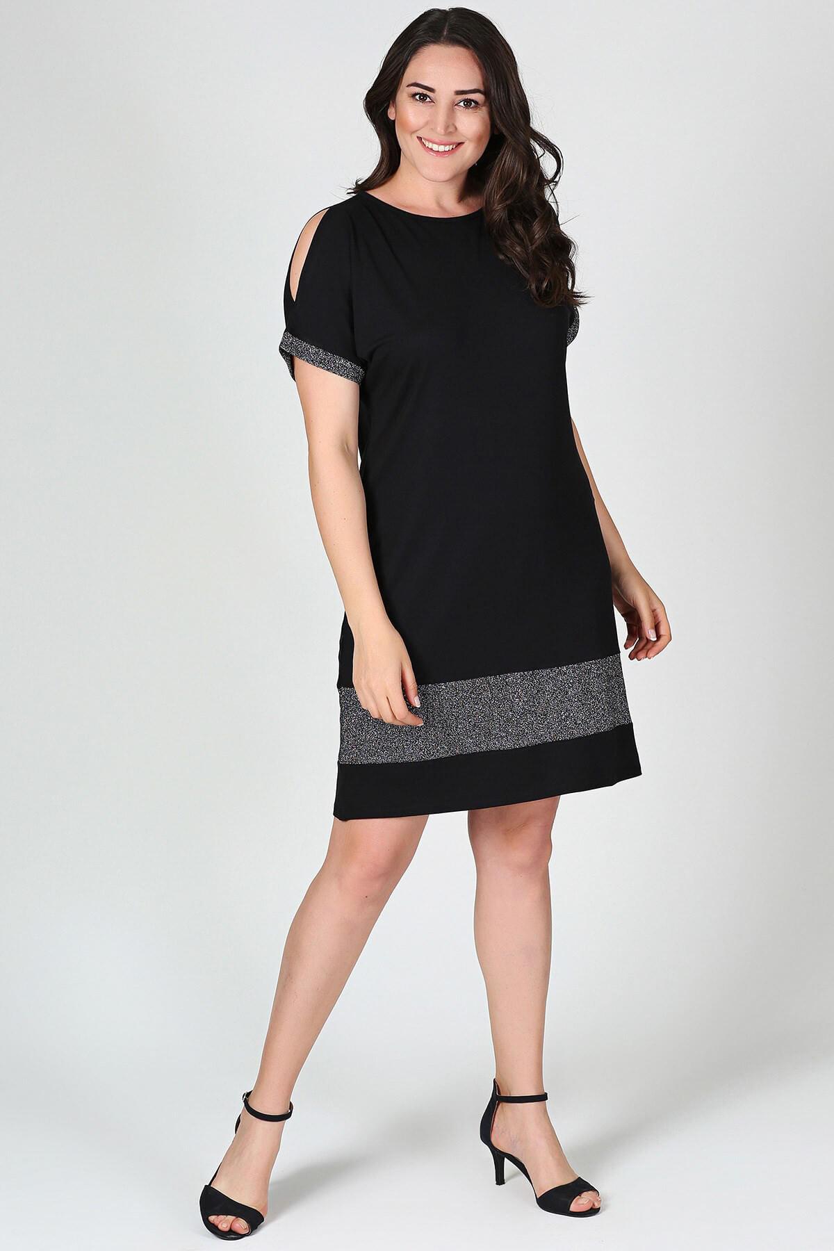 Moda Cazibe Kadın Eteği Kol Ucu Simli Elbise M8042 1