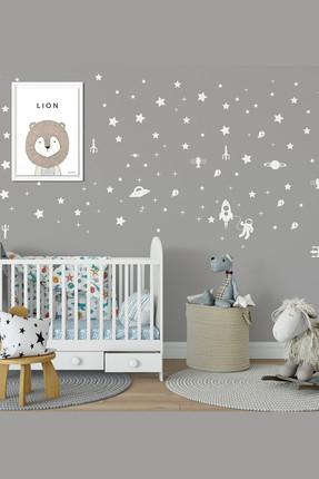 Bebek Center Galaksi Ve Yıldızlar Bebek Odası Duvar Sticker Beyaz /