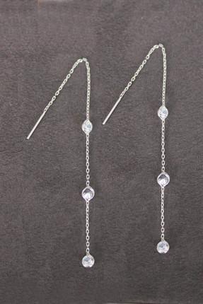 Bella Gloria Kadın Sallantılı Üç Taş Gümüş Küpe TGP0100