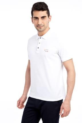 Kiğılı Erkek Beyaz Tasarım - Regular Fit Polo Yaka T-Shirt - 66334