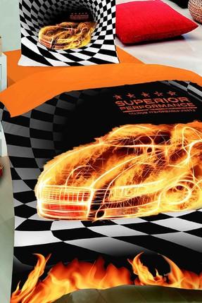 Merinos Fashion Nevresim Takımı Tek Kişilik Fire Car Oranj