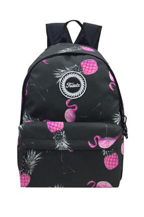 Fudela Siyah Flamingo Ananas Unisex Sırt Çantası FE 01