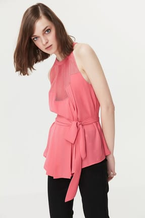 İpekyol Kadın Pembe File Mix Kuşaklı Bluz IS1190006239033