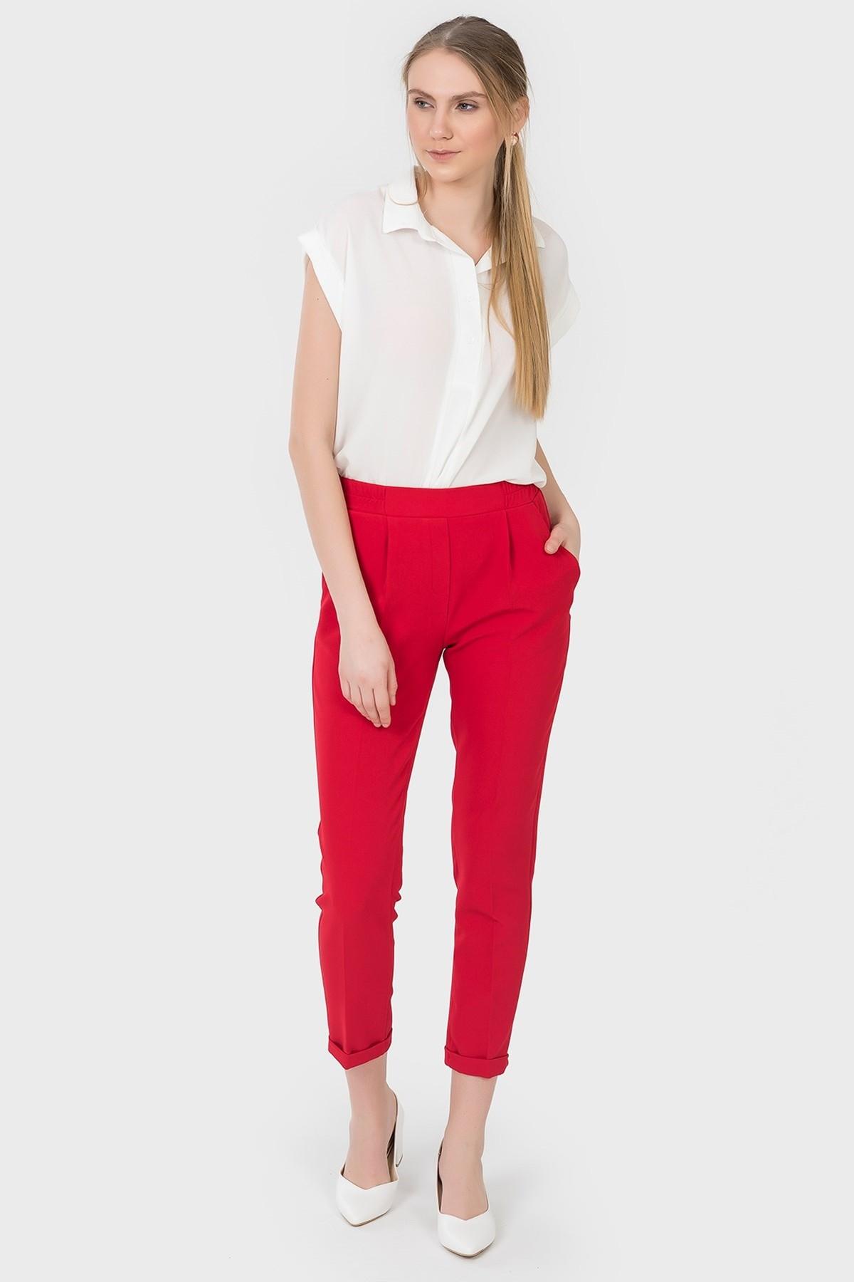 İroni Kadın Kırmızı Jogger Pantolon 1671-891 1