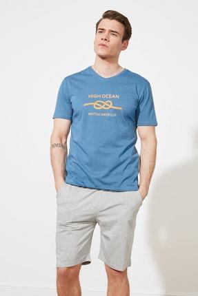 TRENDYOL MAN Mavi Baskılı Örme Pijama Takımı THMSS21PT0323