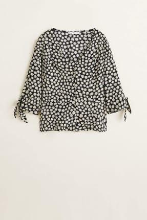 MANGO Woman Kadın Siyah Çiçekli Bluz 43035822