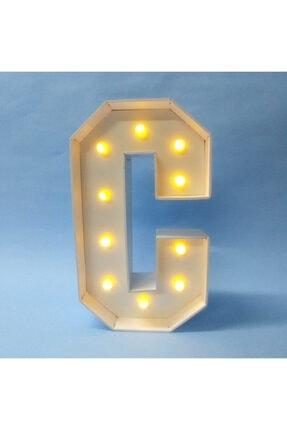 Harflamba Pilli Işıklı Led Harf, Dekoratif Gece Lambası, C Harf Abajur