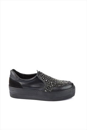 İnci Hakiki Deri Siyah Kadın Dolgu Topuklu Ayakkabı 120117527729