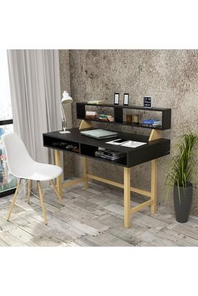 Yurudesign SiyahRaflı Retro 60cm Derinlik  A9 Çalışma Masası