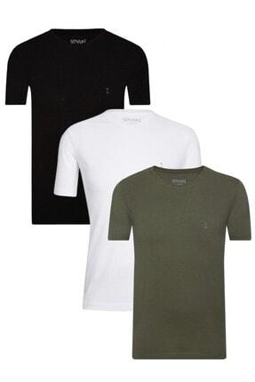 SÜVARİ Erkek Siyah Beyaz Haki Pamuk O Yaka 3lü Tshirt