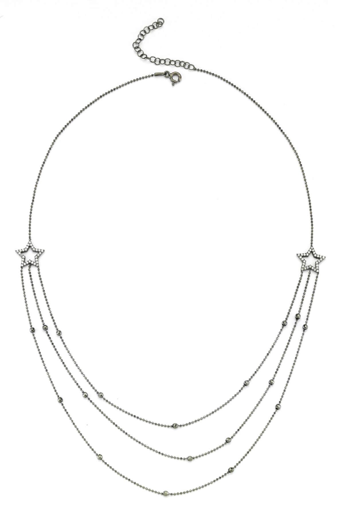 BENDİS Kadın Gümüş Üçlü Yıldız Kolye C480 1