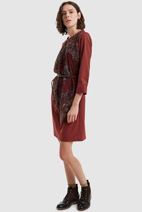 Yargıcı Kadın Kiremit Şal Detaylı Elbise 8KKEL7138X