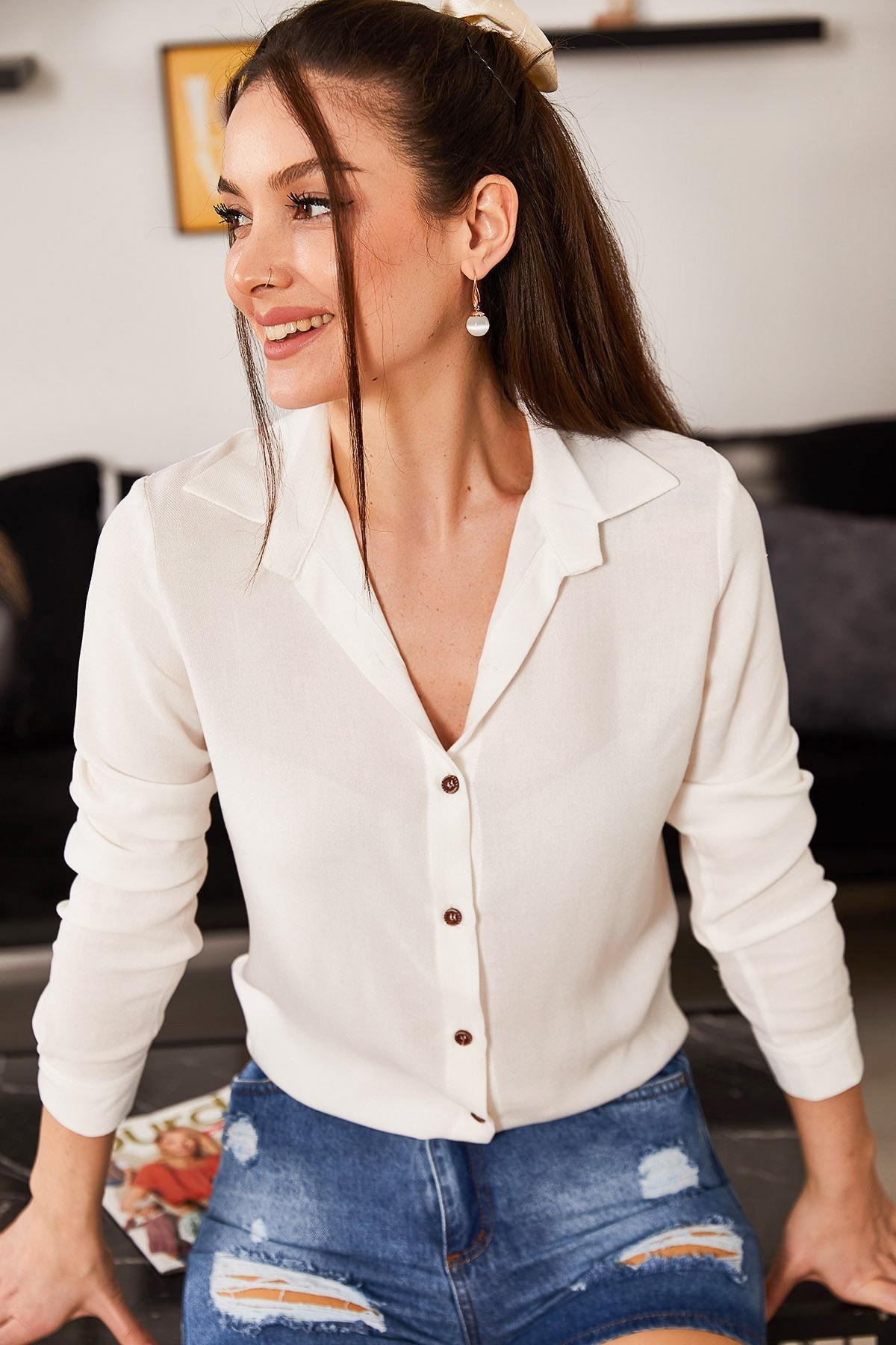 armonika Kadın Beyaz Uzun Kollu Düz Gömlek ARM-18Y001176 1