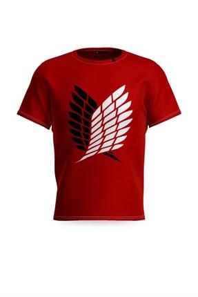 RENKLER Attack On Tıtan Kırmızı Erkek Tişört