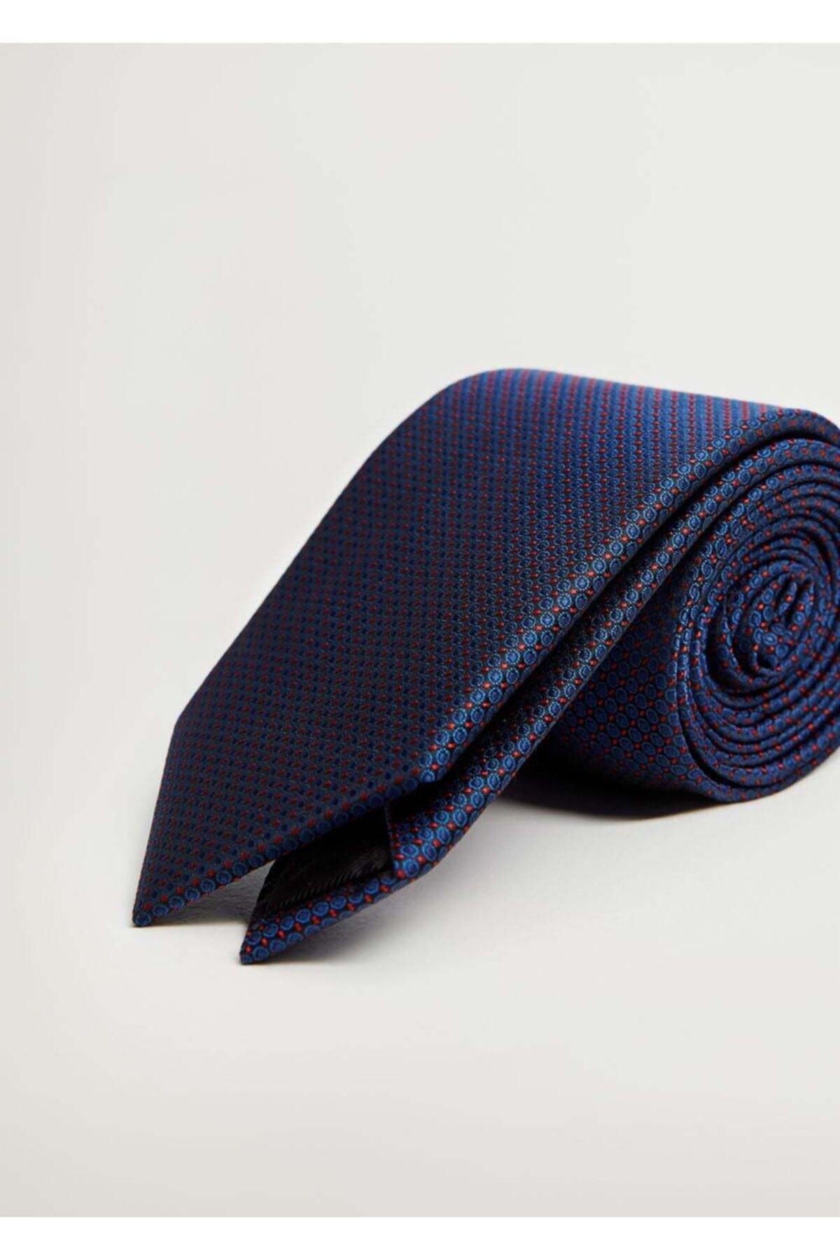 MANGO Man Erkek Lacivert Mini Puantiyeli Kravat 1