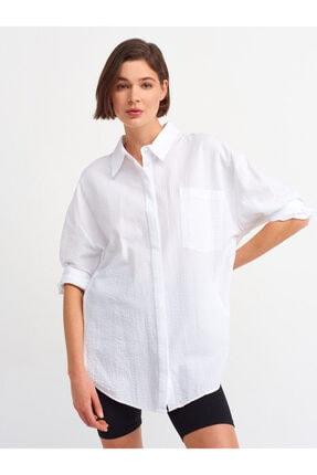 Dilvin Kadın Salaş Gömlek-beyaz