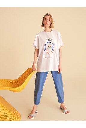 Nocturne Kadın Silüet Baskılı Oversize T-Shirt