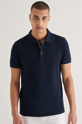 Avva Erkek Lacivert Polo Yaka Düz T-shirt A11b1174