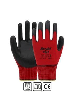 Beybi Nitril Polyester Pn5 Kırmızı-siyah No:10 -(12 Çift)
