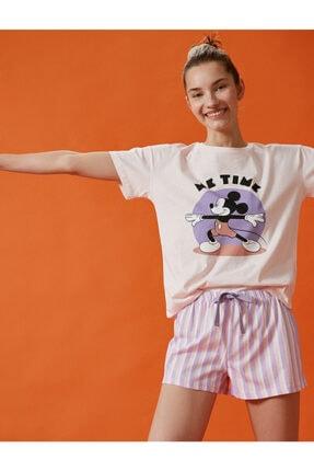 Koton Kadın Mor Mickey Mouse Pamuklu Şortlu Pijama Takımı