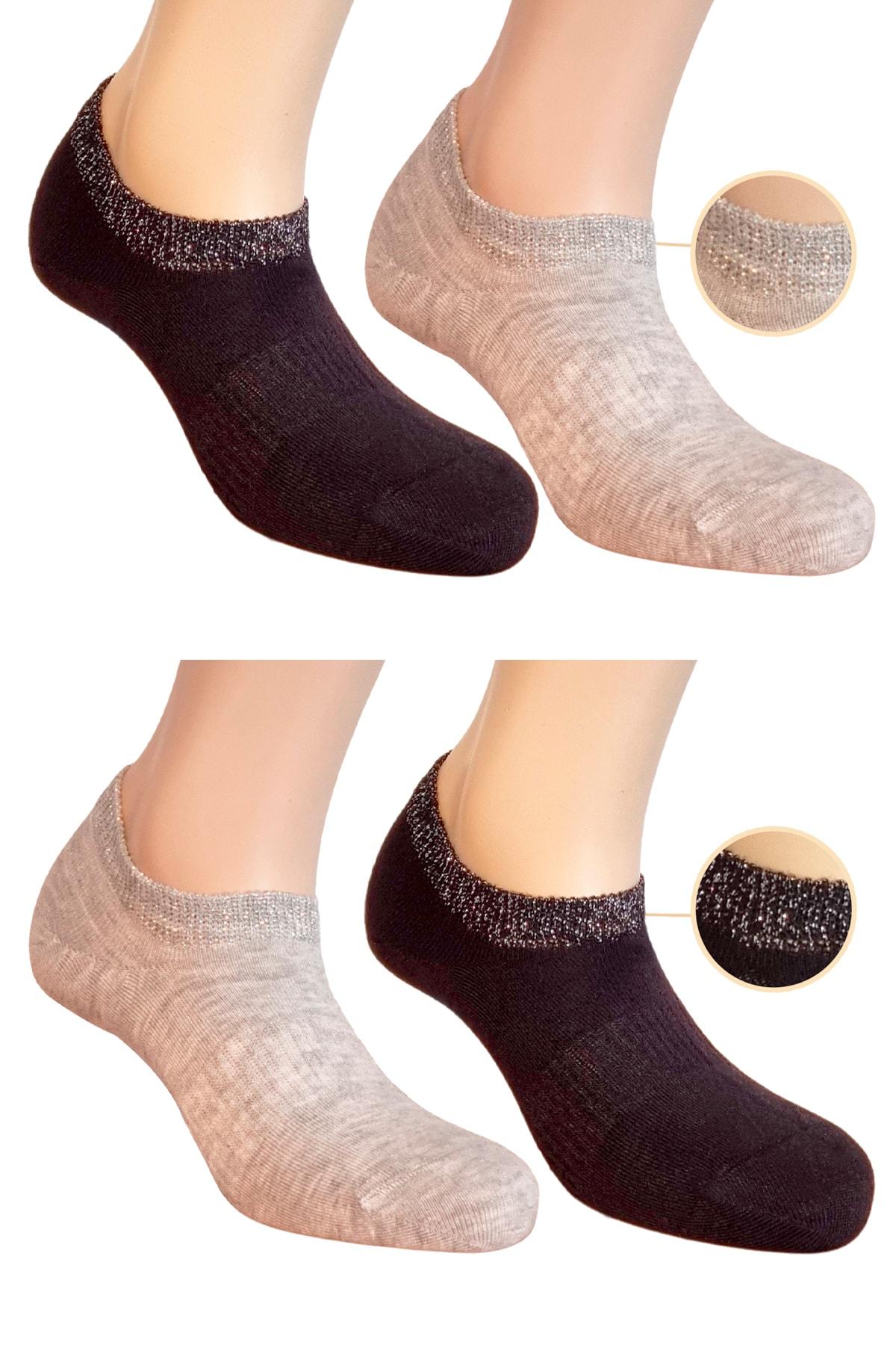 FandD 4'lü Simli Kadın Bambu Çorap Patik 200 Iğne Dikişsiz Burun 1