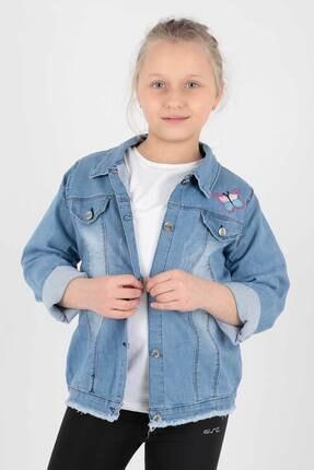 Ahenk Kids Kız Çocuk Kelebek Nakışlı Jean Ceket Ak645556