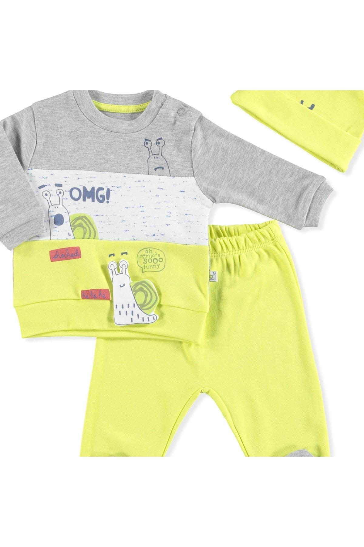 Mymio Erkek Bebek Sarı Şapkalı 3lü Takım 2