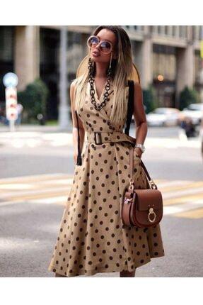 OOPS Kadın Sütlü Kahve Puantiyeli Kemerli Kolsuz Elbise