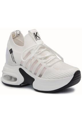 Guja 20k300 Beyaz Triko Yüksek Taban Gizli Topuk Kadın Spor Ayakkabı