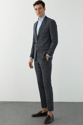 Network Erkek Slim Fit Lacivert Ekoseli Takım Elbise 1078613