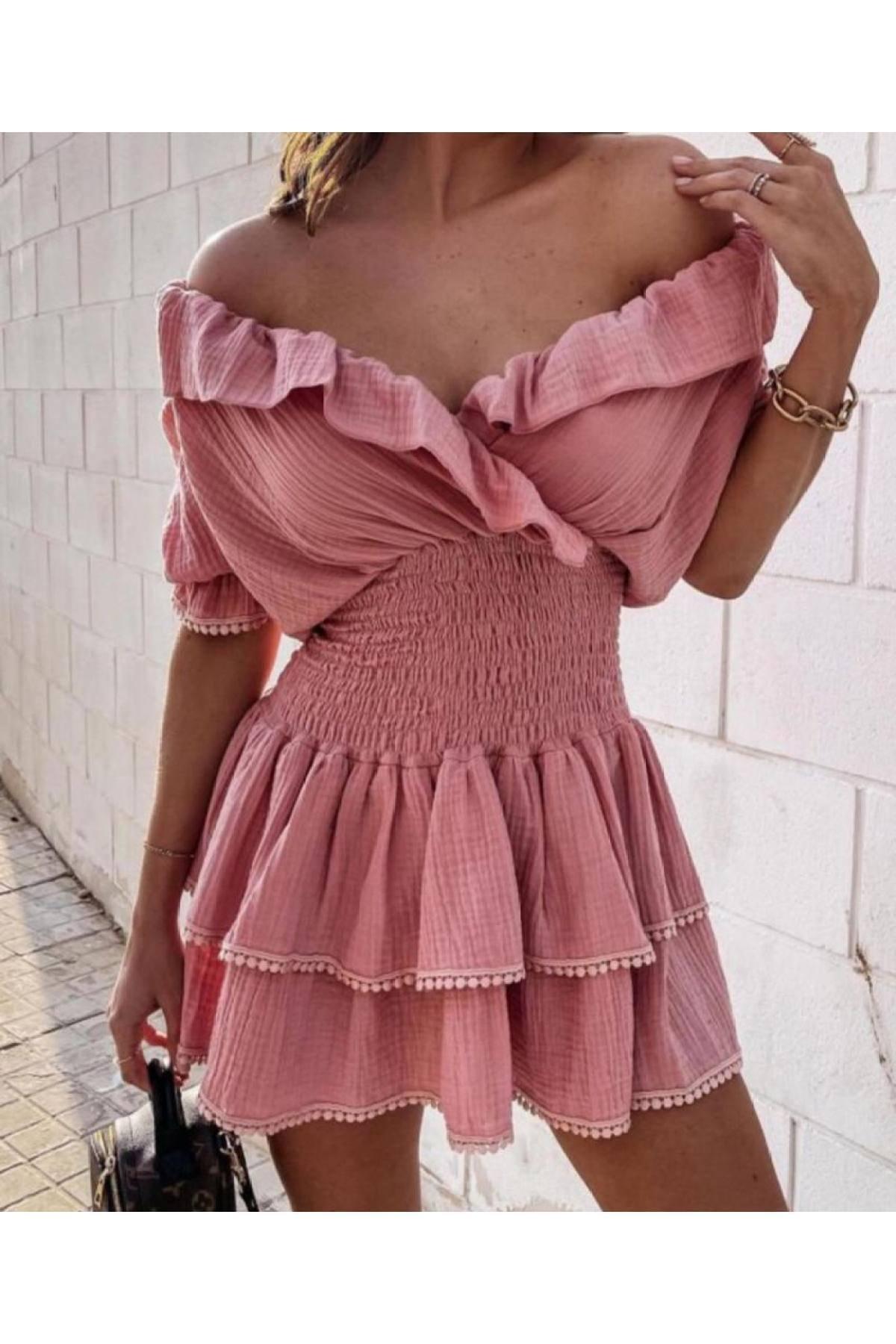 Melanj Kadın Pudra Mini Elbise 1