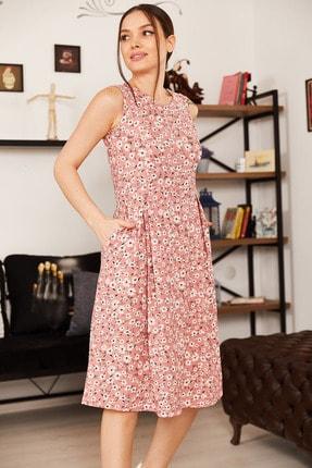 armonika Kadın Pudra Küçük Çiçekli Kolsuz Midi Boy Elbise ARM-21Y001011