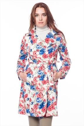 Pitti Kadın Saks Çiçekli Trençkot 70338.