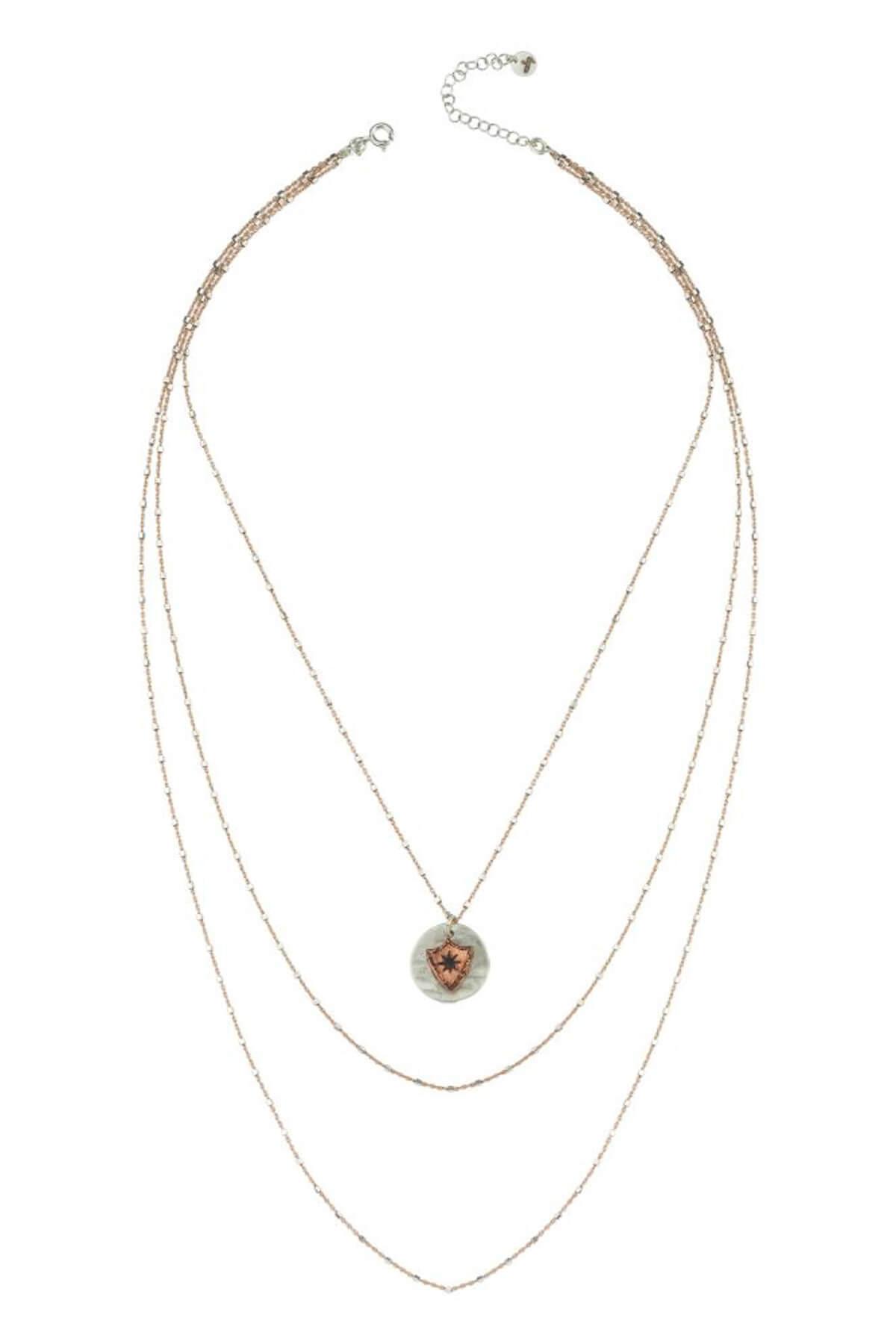 BENDİS Kadın Rose-Gümüş Katmer Apolet Kolye C559 2