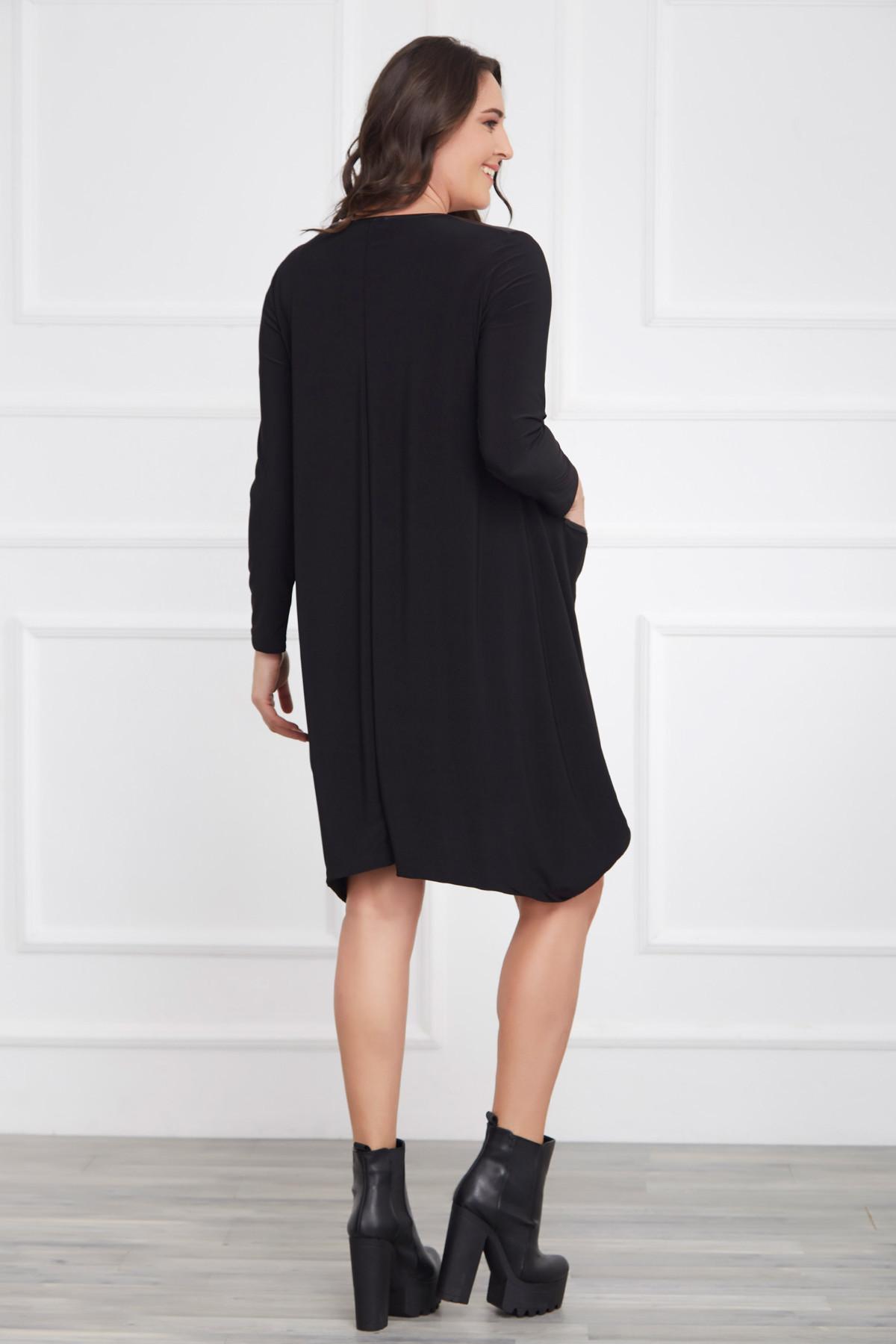 Laranor Kadın Siyah Deri Detaylı Asimetrik Kesim Elbise 17LB9023 2