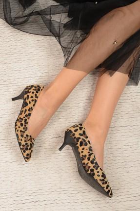 Shoes Time Leopar Kadın Topuklu Ayakkabı 17K 1951