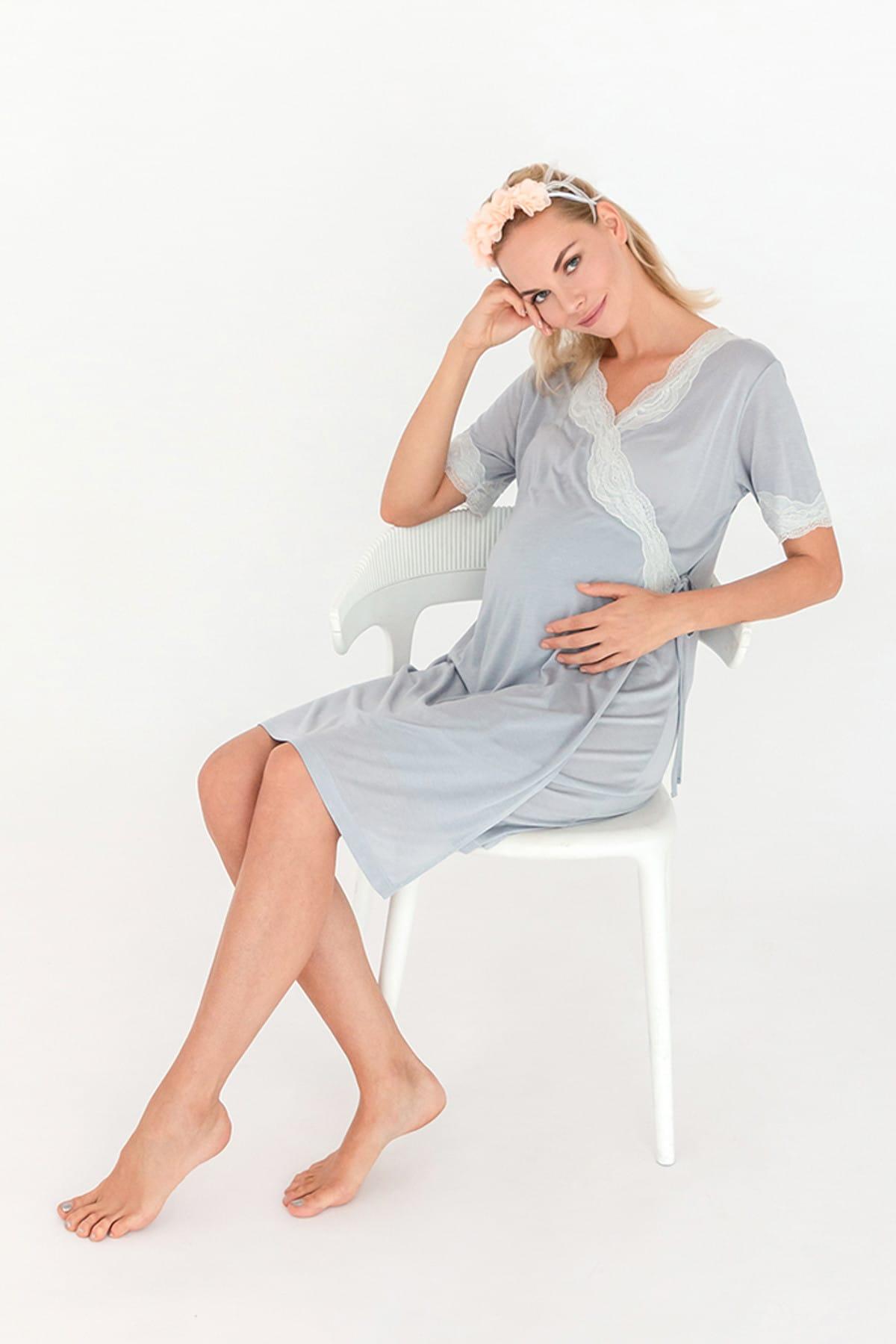 Hays Kadın Gri Mom Dantel Detaylı Kruvaze Penye Modal Gecelik 2