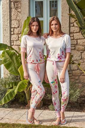 Feyza Pijama Kadın Somon Taytlı Pijama Takımı