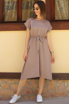 armonika Kadın Vizon Beli Lastikli Bağlamalı Elbise ARM-18Y001120