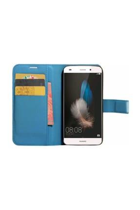 Microsonic Cüzdanlı Deri Huawei P8 Lite Kılıf Turkuaz